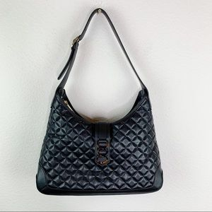 Talbots Black Quilted Leather Bag H1